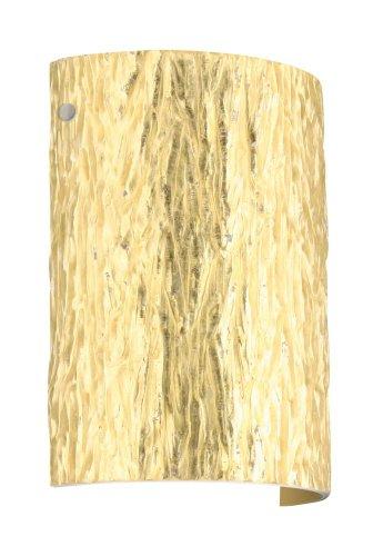 Besa Lighting 7090GF-SN 1X75W A19 Tamburo 8 Wall Sconce with Stone Gold Foil Glass, Satin Nickel Finish