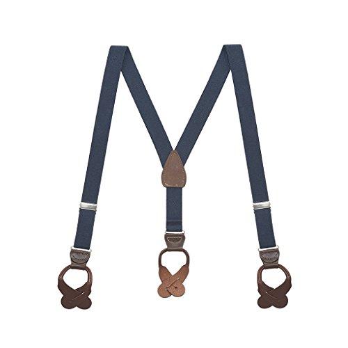 - Suspender Store Boys navy blue w/brown Kids' Suspenders, 1-Inch Wide Button  36