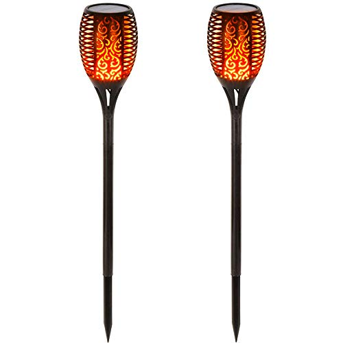 BAXIA Technology Solar Torch Lights Outdoor Waterproof Dancing Flickering Flame Patio 96 LED Pathway Power, 2 Pack, Black by Generic