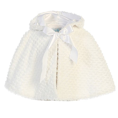 iGirlDress Little Girls Ribbon Accent Hooded Swirl Texture Faux Fur Cape White ()