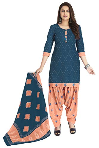Miraan Women's Cotton Unstitched Dress Material (SAN1271, Blue, Free Size)