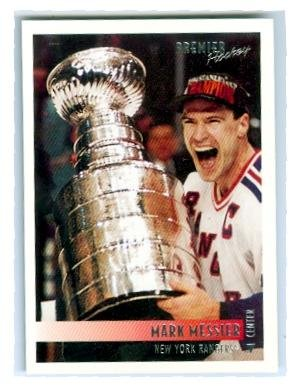 Mark Messier hockey card (1994 New York Rangers Stanley Cup Champions) 1995 Topps Premier #1