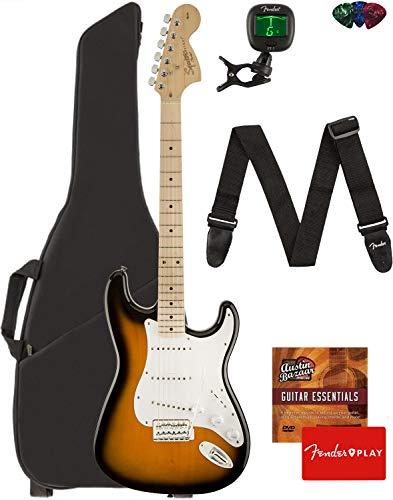 Fender Squier Affinity Series Stratocaster Guitar - Maple Fingerboard, 2-Color Sunburst Bundle with Gig Bag, Tuner, Strap, Picks, and Austin Bazaar Instructional DVD