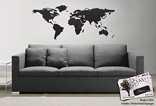 Black World Map Wall Decal Sticker Stickerbrand Home Decor Vinyl - How do you put up vinyl wall decals