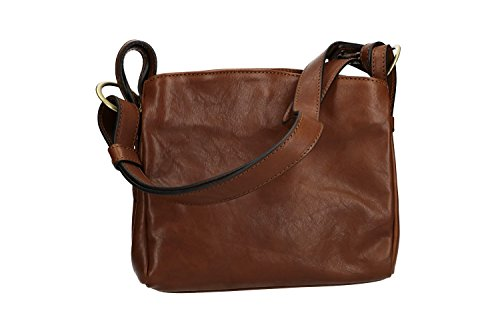 brown leather IN bag VN2447 ITALY Shoulder vintage MADE real woman in BTqCU