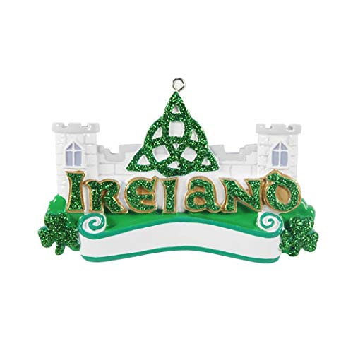 Personalized Ireland Christmas Tree Ornament 2019 - Historic Castle City Island North Atlantic Channel Sea St George's British Europe Patrick's 1st Day Tourist First Visit Green - Free Customization