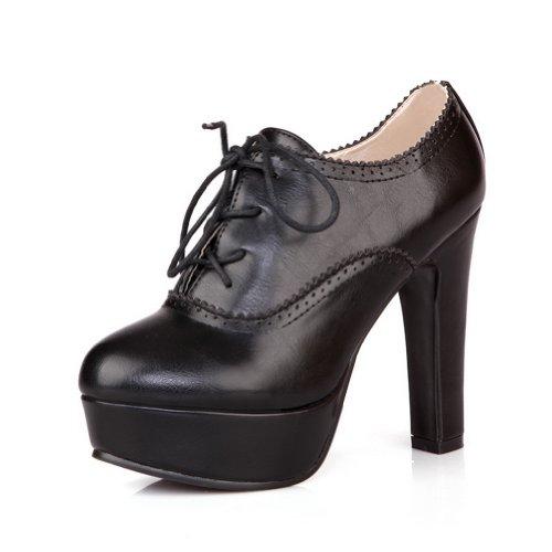 Allhqfashion Women's PU Soft Material High-Heels Boots with Ruffles Black X1OLXJtJB