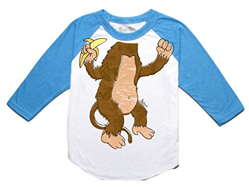Peek-A-Zoo Toddler Become an Animal 3/4 Sleeve Raglan - Monkey Turquoise - 2T -
