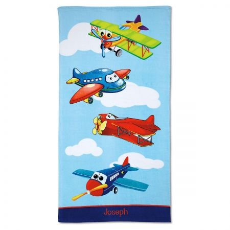 Personalized Kids Airplane Cotton Beach Towel