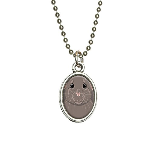Rat Dumbo Fancy Gray - Pet Mouse Antiqued Oval Charm Pendant with (Dumbo Rat)