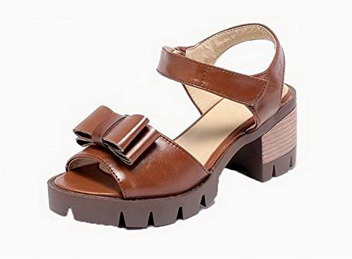 Solid Women's Heels Brown Toe EGHLH006432 and Hook Open Loop High WeiPoot Sandals Pu Aw0zqUq