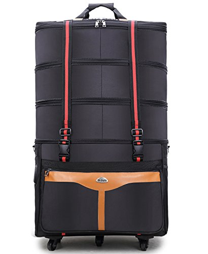 - ailouis 36 Inch Expandable Extra Large Wheeled Travel Duffel Luggage Bag (Black B)