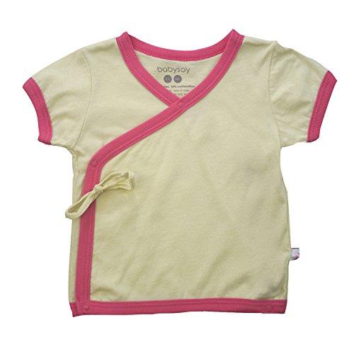 Babysoy Baby Short Sleeve Kimono Tee (0-3 Months, - Short Tee Kimono Sleeve