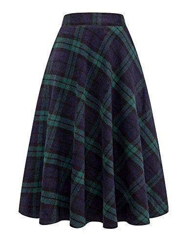 (IDEALSANXUN Womens High Elastic Waist Maxi Skirt A-line Plaid Winter Warm Flare Long Skirt Fit US(XS-L) (Small, Green))
