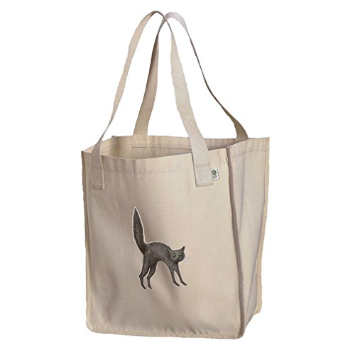 Market Tote Organic Cotton Canvas Black Cat Vintage Look #1 By Style In ()
