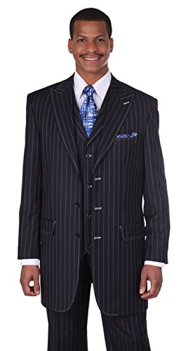 Men's 3 Piece Gangster Pin-striped Suit with Vest 5903v (46L, Navy)]()