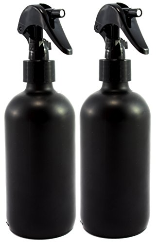Black Coated 8-Ounce Glass Spray Bottles with Matte Finish, UV Light Resistant Powder Coated, Write Directly on Bottle with Chalk-(2 (Black Light Hairspray)