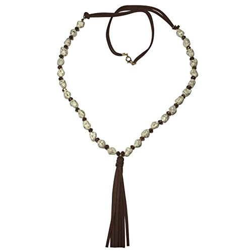 Long Cream Stone Glass Beads & Faux Leather Tassel Beaded Necklace & Earring Set