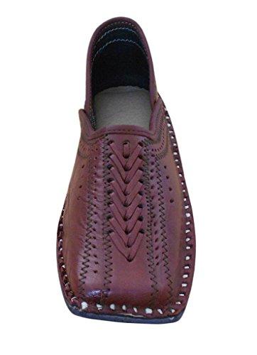 Kalra Creations - Zapatillas de estar por casa de Piel para hombre cereza