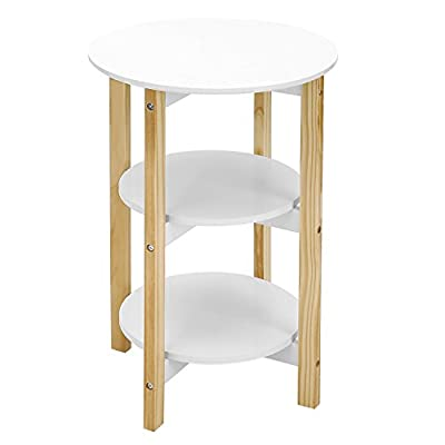 SONGMICS Wood End Table 3-tier Storage Rack Sofa Side Table Round Plant Stand White ULET05WN