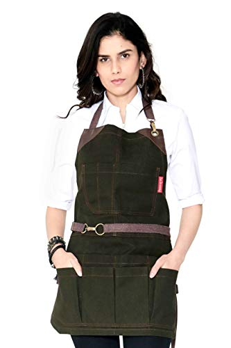 Tool Forest Green Apron - Heavy-Duty Waxed Canvas, Leather Reinforcement, Extra Pockets - Adjustable for Men and Women - Pro Mechanic, Woodworker, Blacksmith, Plumber, Electrician Aprons