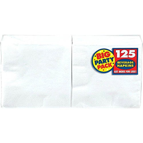 AMSCAN 600013-08  Big Party Pack Beverage Napkin 9.84 Inch White, 125 (Party Beverage)