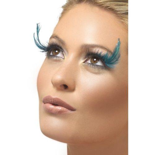 Smiffys falsche Wimpern mit Federn in schwarz grün zu Karneval Halloween
