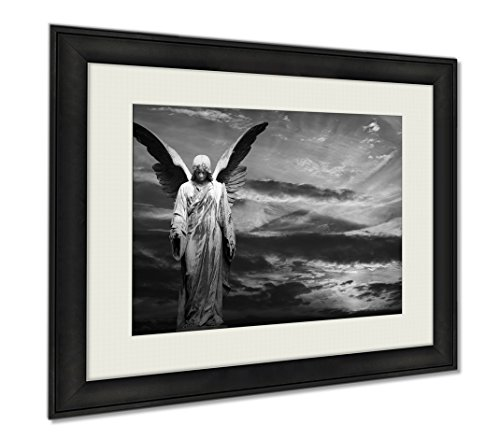 Ashley Framed Prints Monument Of Old Angel On Cemetery, Wall Art Home Decoration, Black/White, 34x40 (frame size), AG5924872 by Ashley Framed Prints