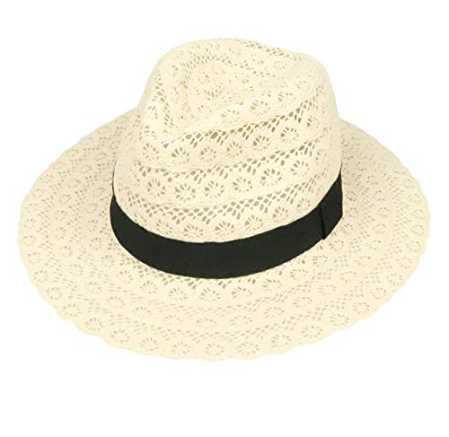 (FM Women Sun Hat Straw Fedora Panama Roll up Beach Hat (beige-01))