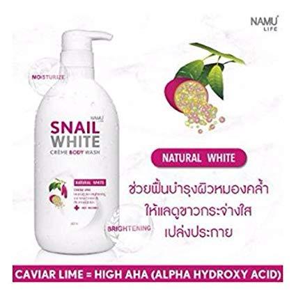 SNAIL WHITE CREAM BODY WASH NATURAL WHITE CARVIAR LIME IMPROVE SKIN WHITENING 500 ML (Snail Cream Body Whitening)