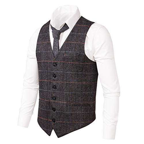 VOBOOM Men's Slim Fit Herringbone Tweed Suits Vest Premium Wool Blend Waistcoat (Style2- Plaid Grey, L) ()