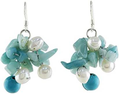 NOVICA Dyed Cultured Freshwater Pearl Amazonite Dangle Earrings with Silver Hooks 'Phuket Beach'