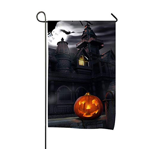 AnleyGardeflagsU Halloween Haunted House Welcome Home Garden Flag Yard to Light up Your Home Double Sided 12