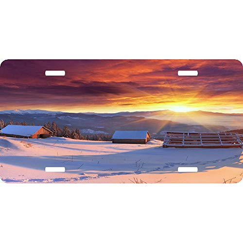 Peaceful Village Landscape Winter Sky Sunset Customizable Aluminum Metal for Auto Cars, Car Tag Sign for Women/Men, 12 x 6 Inch