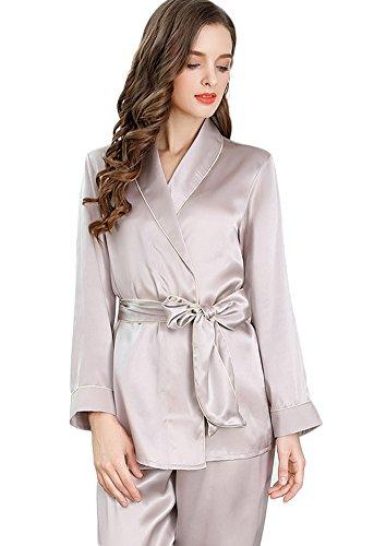 Women's Sleep Sets Pure Silk Nightwear Summer Nightclothes Grey S by Colorful Silk
