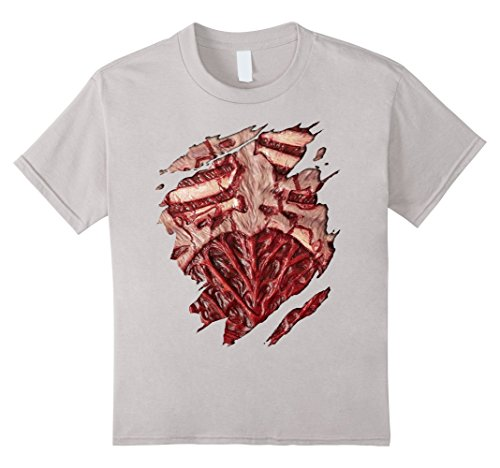 Bloody T Shirt Costume (unisex-child Bloody Zombie Chest Halloween Costume T-Shirt 10 Silver)