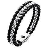 Bracelet homme femme en cuir noir et boules acier 19cm