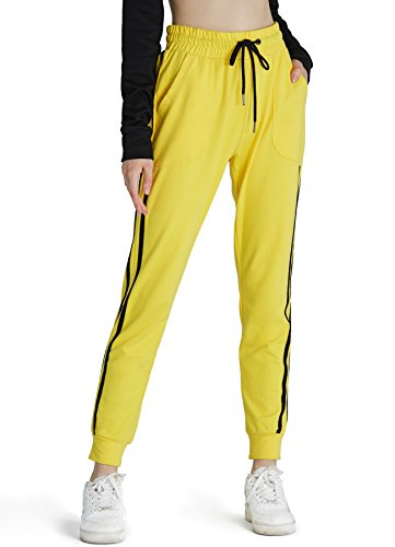 PULI Women's Drawstring Waist Cuffed Fitness Sports Gym Running Athletic Workout Leggings Jogger Sweatpants with (Yellow Jogger)