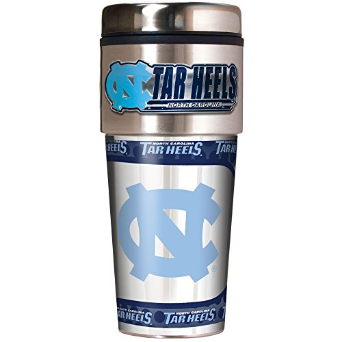 NCAA North Carolina Tar Heels Metallic Travel Tumbler,  16-Ounce