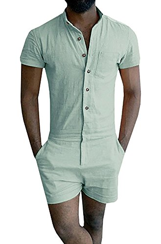 Mens Short Sleeve Jumpsuit Casual Short Cargo Pants Rompers Slim Fit Party Overalls Boyfriend Shorts (M, Grass Green)