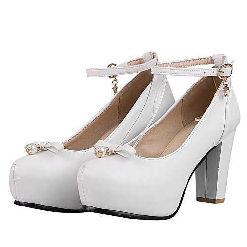 Buckle Court White Shoes Strap Block Ankle High Fashion Mee Heel Heel Shoes Women's nqZvxAP07
