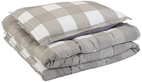 AmazonBasics Comforter Set - Soft, Easy-Wash Microfiber - Twin/Twin XL, Dark Grey Oversized Gingham