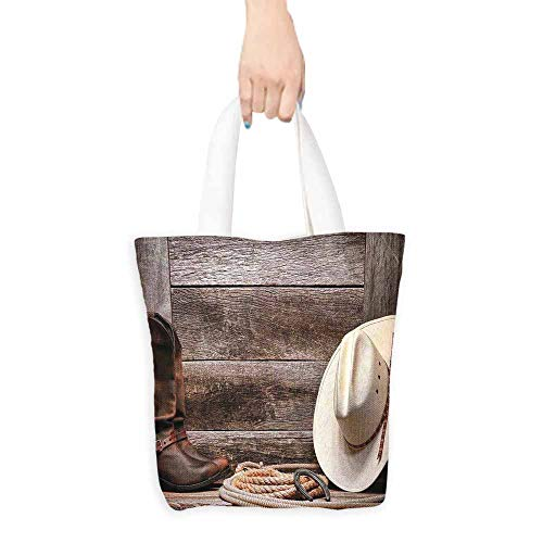 - Western Decor Tote American West Rodeo White Straw Cowboy Hat with Lariat Leather Boots on Rustic Barn Wood Everyday Use 16.5