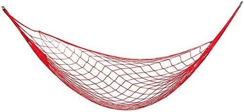 JFFFFWI Columpio Plegable Hamaca para Exterior Mesh Bold Single Nylon Mesh Hamaca Silla de suspensión portátil de Ocio con 2 Metros de Cuerda Larga Columpio Ajustable (Color: Rojo)