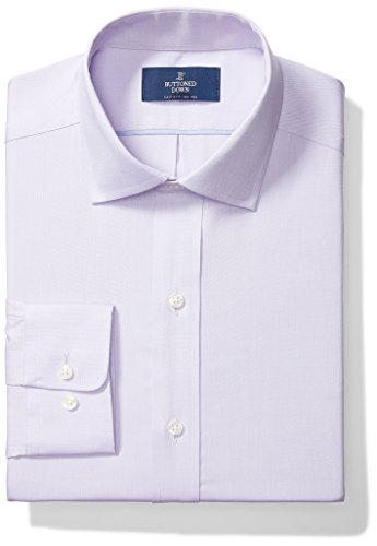 Buttoned Down Men's Classic Fit Spread Collar Solid Non-Iron Dress Shirt (No Pocket), Purple, 18