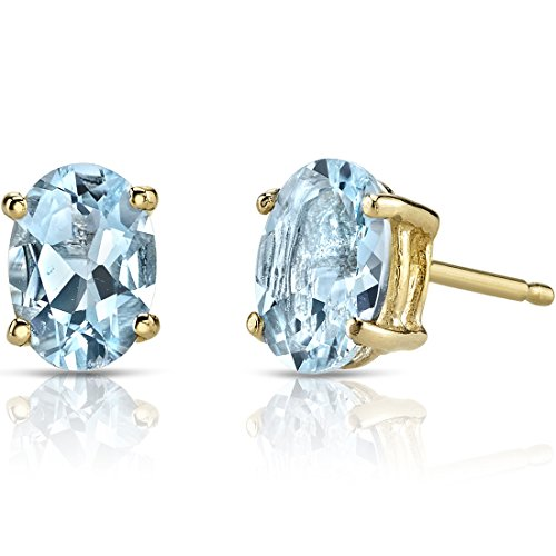 14K Yellow Gold Oval Shape 1.25 Carats Aquamarine Stud Earrings 14k Aquamarine Stud