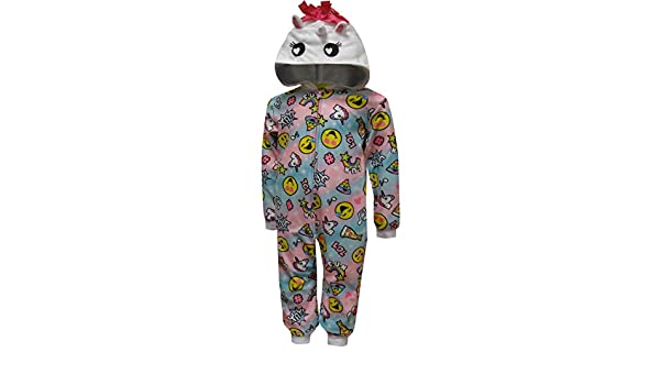 8e05bed60 Amazon.com  Komar Kids Girls  Emoji Unicorn Hooded One Piece Pajama ...