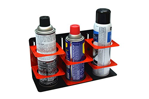 (Olsa Tools | Magnetic Can Holder | Aerosol and Spray Can Holder | Adjustable Height for Different Cans | Holds 3 Spray Cans | Can Also be Wall Mounted)