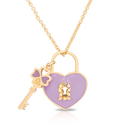 (Necklace for Girl's - Heart Lock & Key Pendant - Gold Plated w/ Reversible Pink or Purple - By Lily Nily)