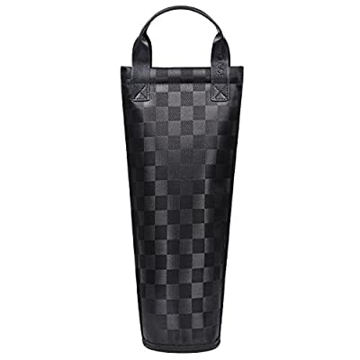 Tirrinia Insulated Single Bottle Nylon Wine Tote Carrier Travel Cooler Bag Purse Leather Handles Steel Opening Reusable Lightweight Attractive Design, Black Checker